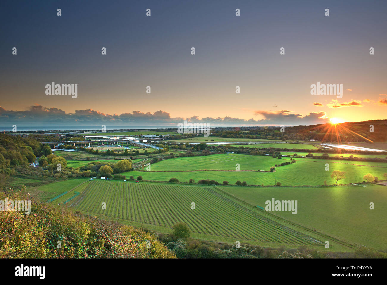 Shoreham flyover at sunset, West Sussex, Uk, Gb Stock Photo