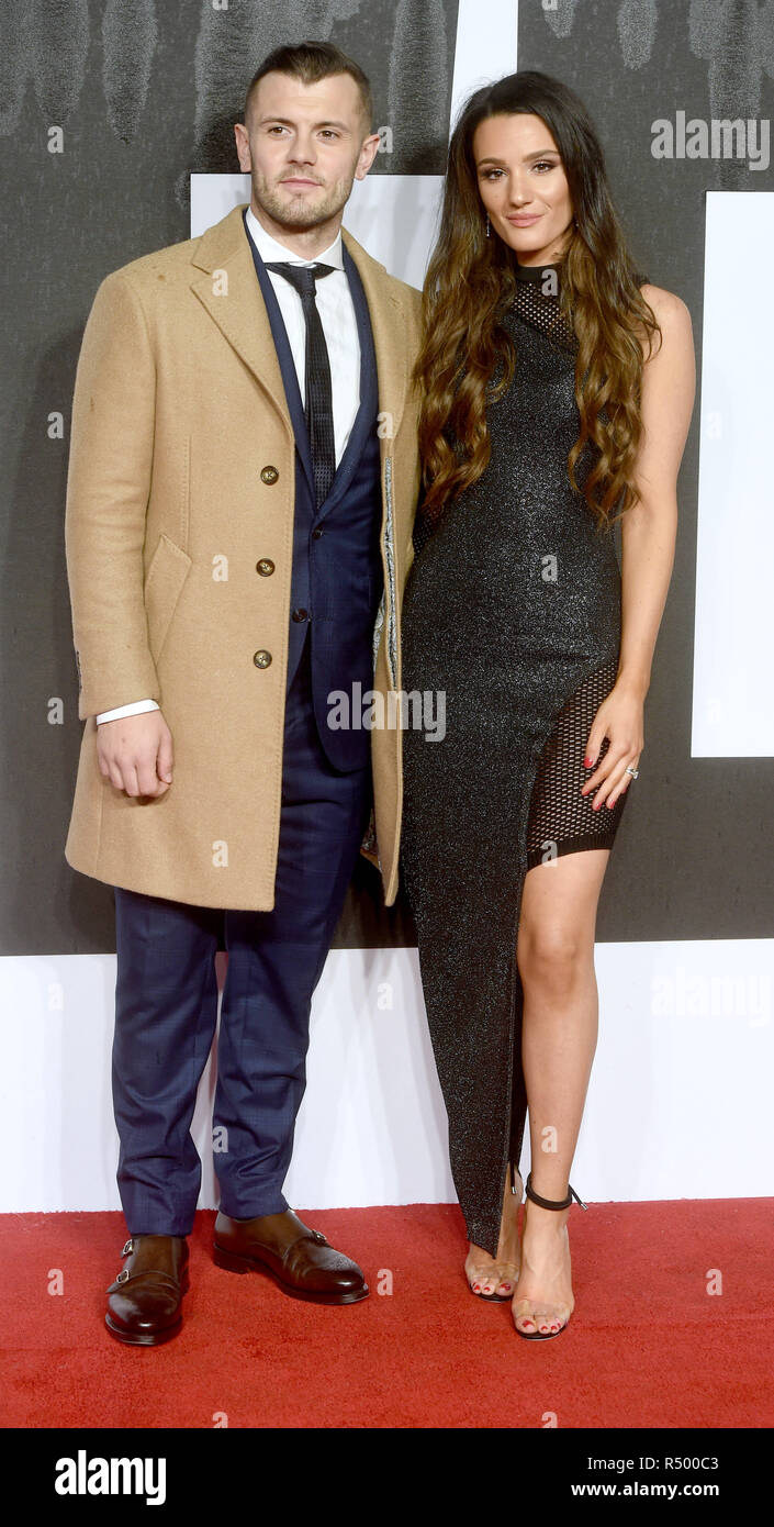 Photo Must Be Credited ©Alpha Press 079965 28/11/2018 Jack Wilshere and Wife Andriani Michael at the Creed II European Movie Premiere held at BFI IMAX in London - Stock Image