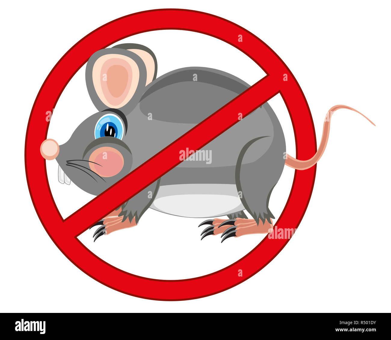 Sign prohibiting rodent - Stock Image