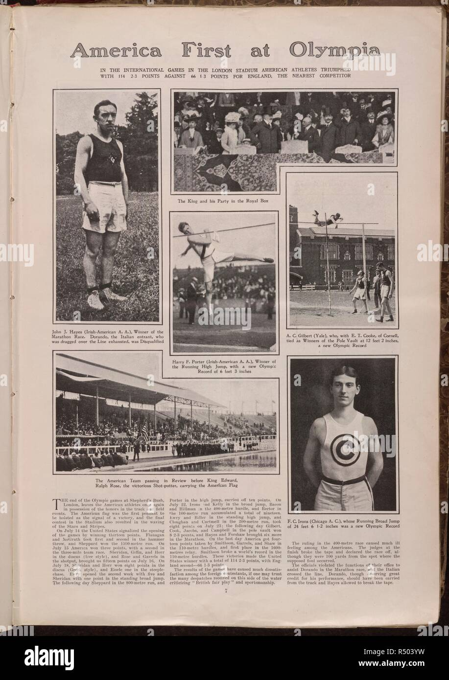 America first at Olympia. A newspaper report of the American successes at the 1908 Olympic games. Harpers weekly. 01/08/1908. The newspaper report refers to the Shepherd's bush stadium. Athletes mentioned are : Alfred Gilbert (pole vault); John J. Hayes (marathon); Ralph Rose (Shot put); Harry F. Porter (high jump); Edward Cooke (pole vault) and Frank C. Irons (long jump). Source: Colindale. Language: English. - Stock Image