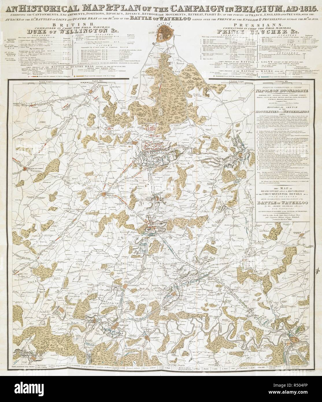 An historical map & plan of the campaign in Belgium, A.D.1815 ... with the attacks of the 15th. Battles of Ligny and Quatre Bras on the 16th and of the Battle of Waterloo ... The Battle of Waterloo, also of Ligny and Quatre-Bras described by ... a near observer ... [A narrative by C. A. Eaton, with a sketch by J. Waldie... from sketches by Captain G. Jones. 2 vol. John Booth; T. Egerton: London, 1817. Source: G.5651 last plate in vol.2. Author: Eaton, Charlotte Anne. - Stock Image