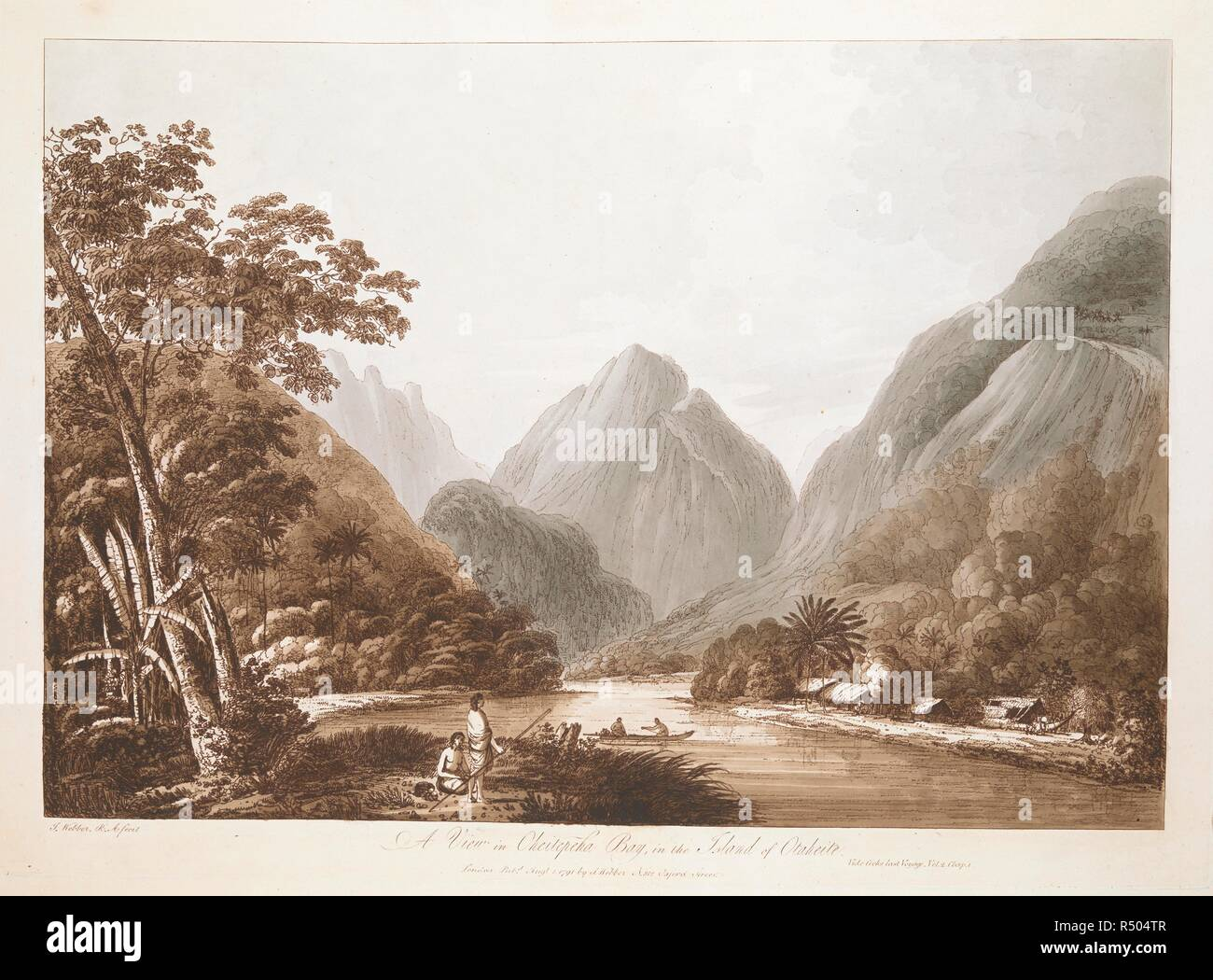 A View in Oheitepeha Bay, in the Island of Otaheite. Landscape with two figures in a canoe on a stretch of water surrounded by tall mountains, with thick trees on the lower slopes to either side, thatched buildings on the shore to right and two figures on the shore in the left foreground, one kneeling, the other standing and holding a spear.   . A View in Oheitepeha Bay, in the Island of Otaheite. : Vide Cooks last Voyage, Vol. 2, Chap I. / J. Webber R.A. fecit. London : Pubd Augt 1 1791 by I. Webber, No 312 Oxford Street., [August 1 1791]. 1 print : etching with hand-colouring ; platemark 32. - Stock Image