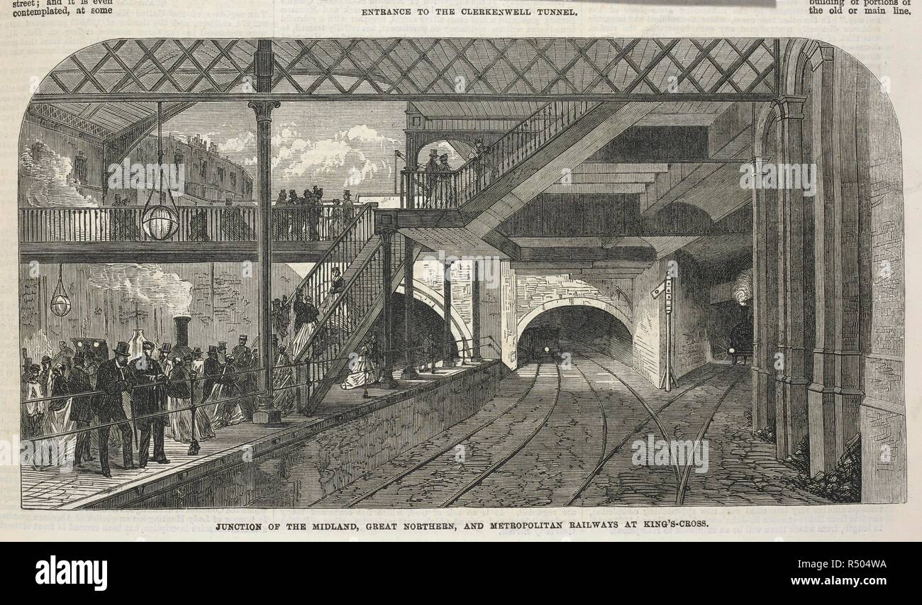 'Junction of the Midland, Great Northern, and Metropolitan railways at King's-Cross.'. Illustrated London News. London, 8 Febraruary 1868. Source: Illustrated London News. 8 Feb. 1868 page 141. - Stock Image