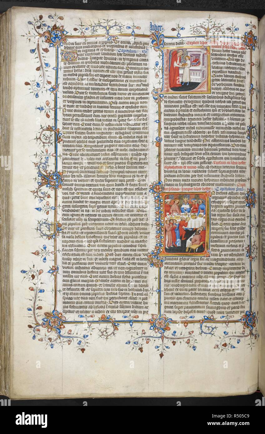 Historiated initial 'L'(ibrum) of Jerome giving a book to a