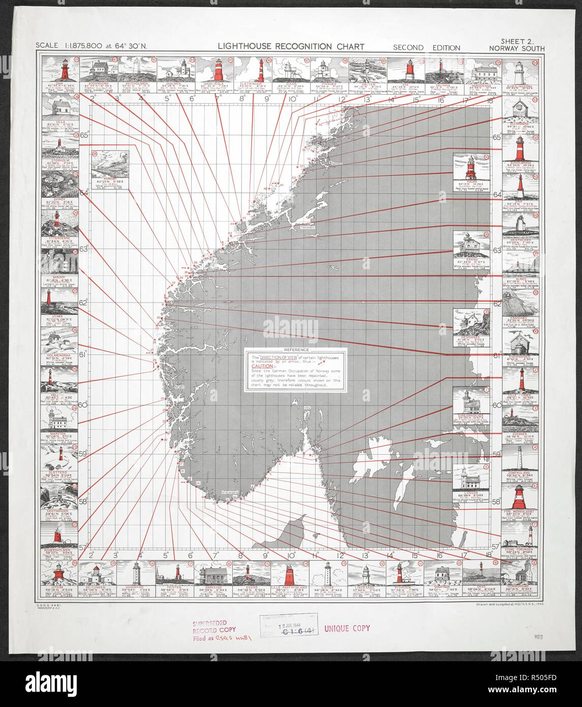 A charts illustrated with sketches of lighthouses along the coasts on norway outline,