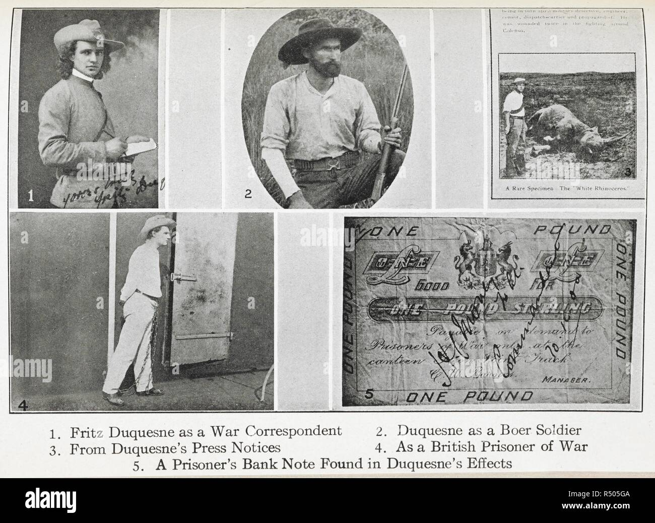 """Fritz Duquesne n various disguises. Frederick """"Fritz"""" Joubert Duquesne (21 September 1877 – 24 May 1956), sometimes Du Quesne, was a South African Boer soldier, prisoner of war, big game hunter, journalist, war correspondent, stockbroker, saboteur, spy, and adventurer whose hatred for the British (due to their treatment of Boer women and children) caused him to volunteer to spy for Germany during both World Wars. As a Boer spy he was known as the 'Black Panther', but he is also known as 'the man who killed Kitchener', since he claimed to have sabotaged and sunk HMS Hampshire, on which Lo - Stock Image"""