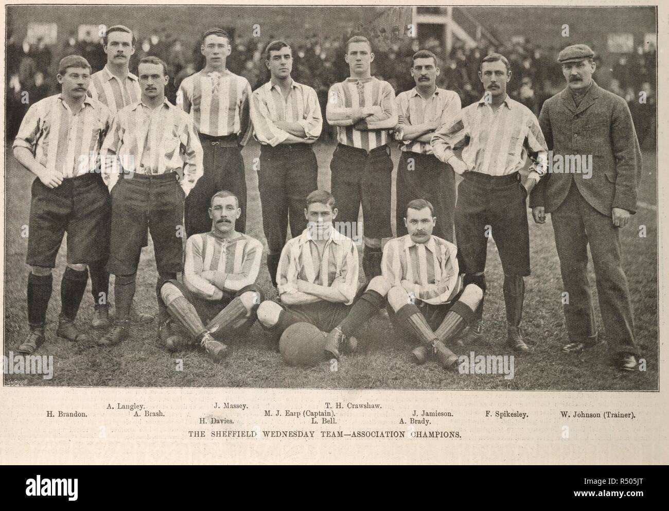 The Sheffield Wednesday team - Association champions. Team photograph. Illustrated sporting and dramatic news. 14 April 1896. Sheffield Wednesday won the FA Cup in 1896, beating Wolverhampton Wanderers 2–1 at Crystal Palace. Source: Illustrated sporting and dramatic news. page 273. Stock Photo