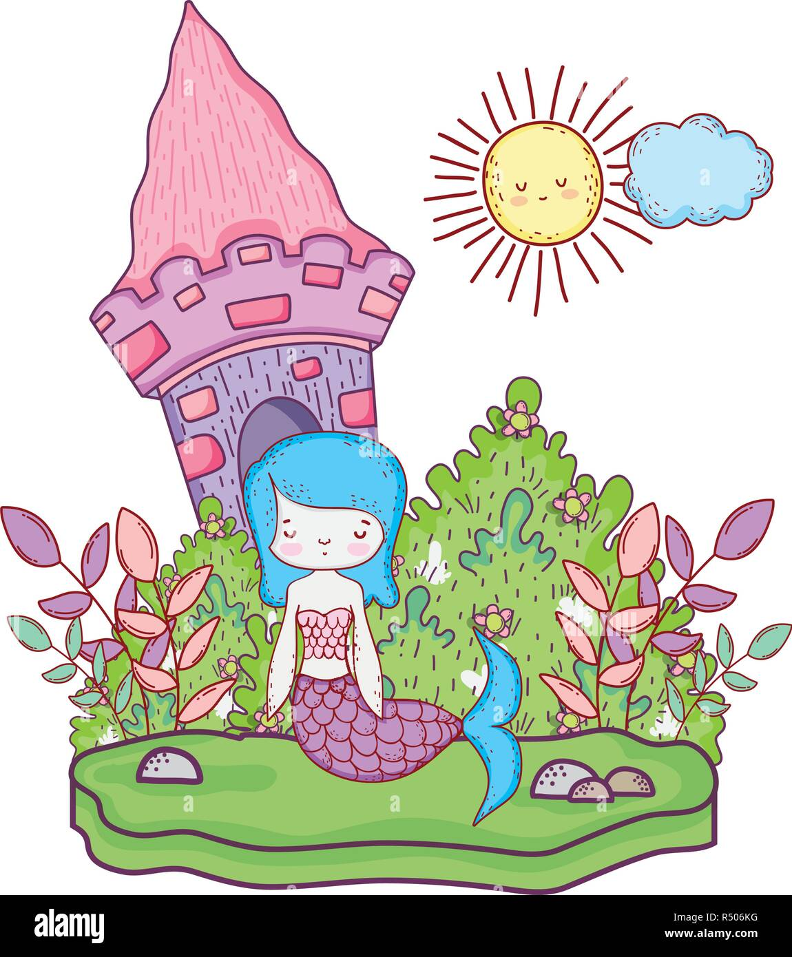 cute mermaid with castle in the landscape vector illustration design - Stock Vector