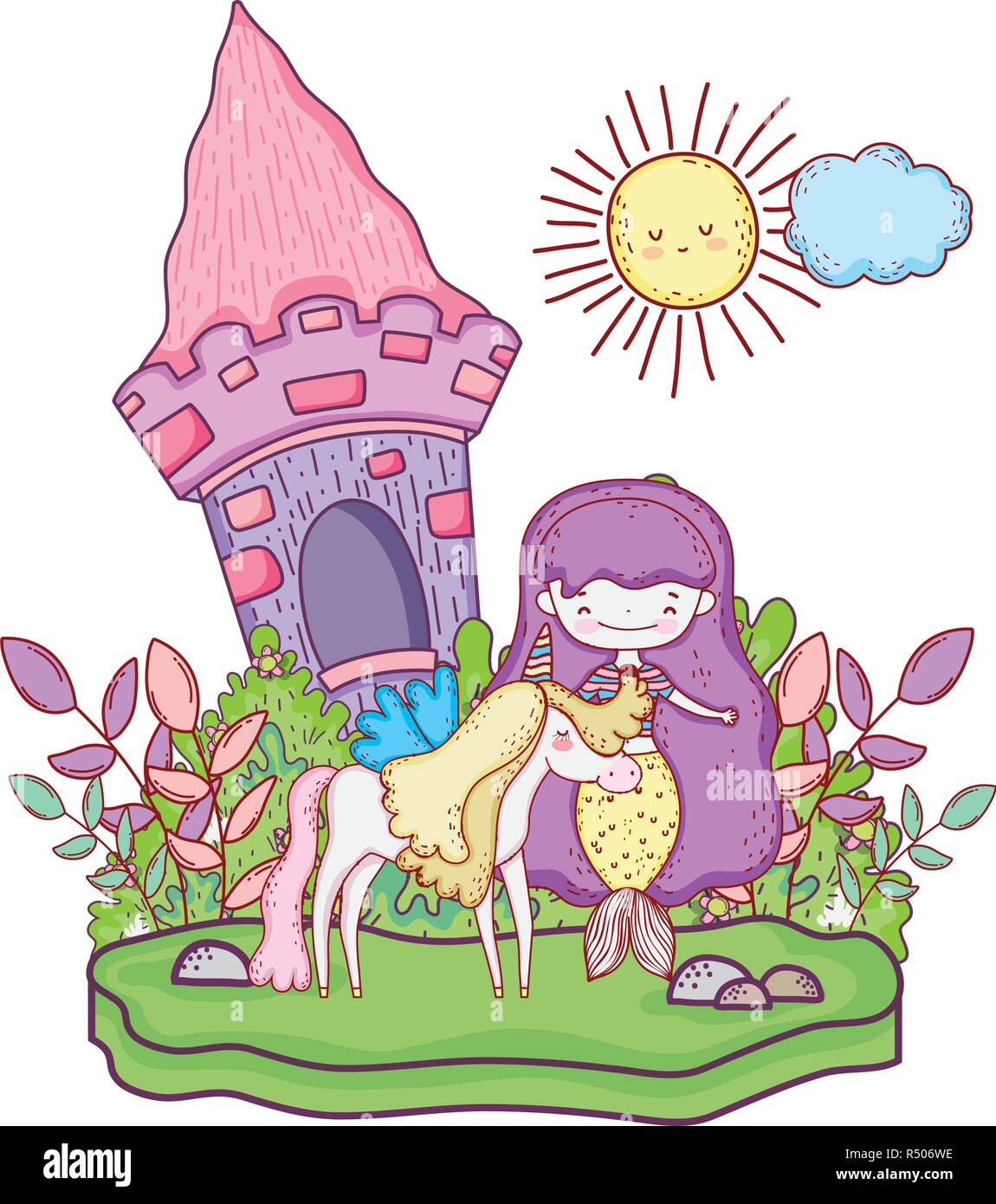 mermaid with unicorn and castle in the landscape vector illustration - Stock Vector