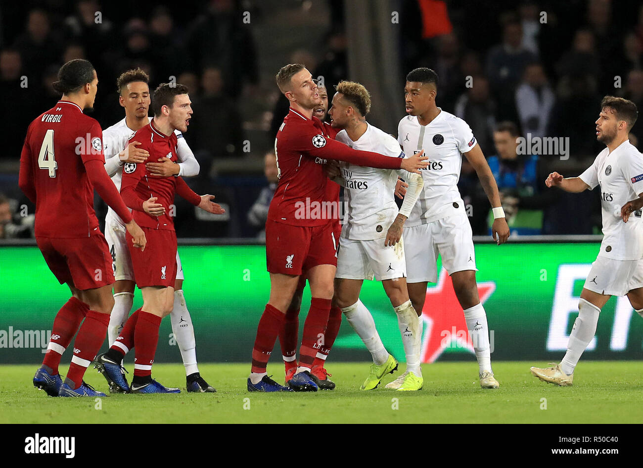 a243871ed92 Liverpool s Andrew Robertson (left) and Paris Saint-Germain s Neymar  exchange words during the UEFA Champions League