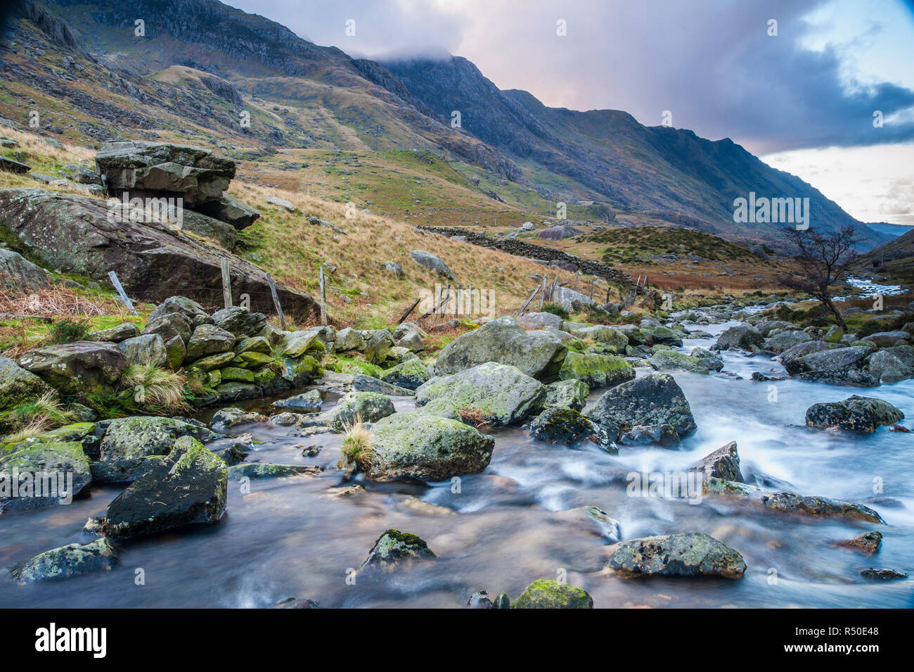 Welsh landscape river and mountains - Stock Image