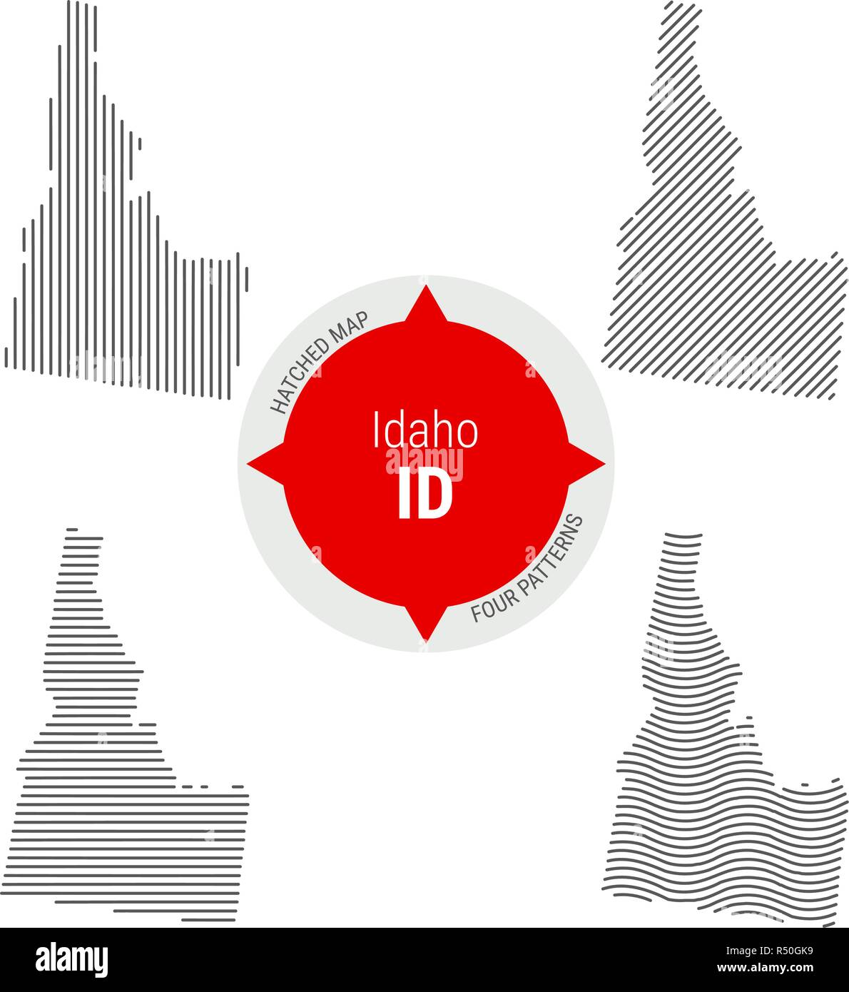 Hatched Pattern Vector Map of Idaho. Stylized Simple Silhouette of Idaho. Four Different Patterns - Stock Vector