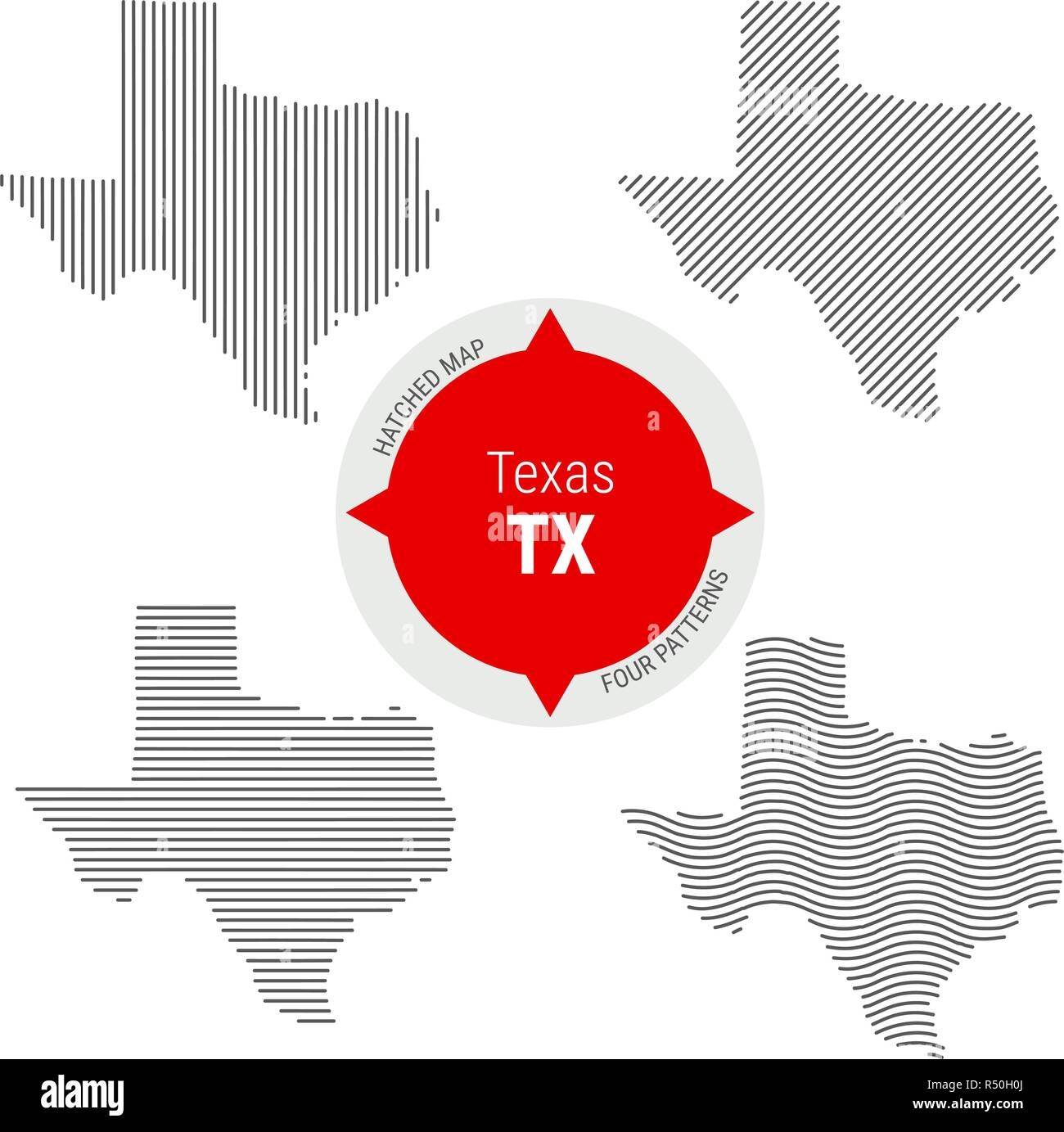 Hatched Pattern Vector Map Of Texas Stylized Simple Silhouette Of