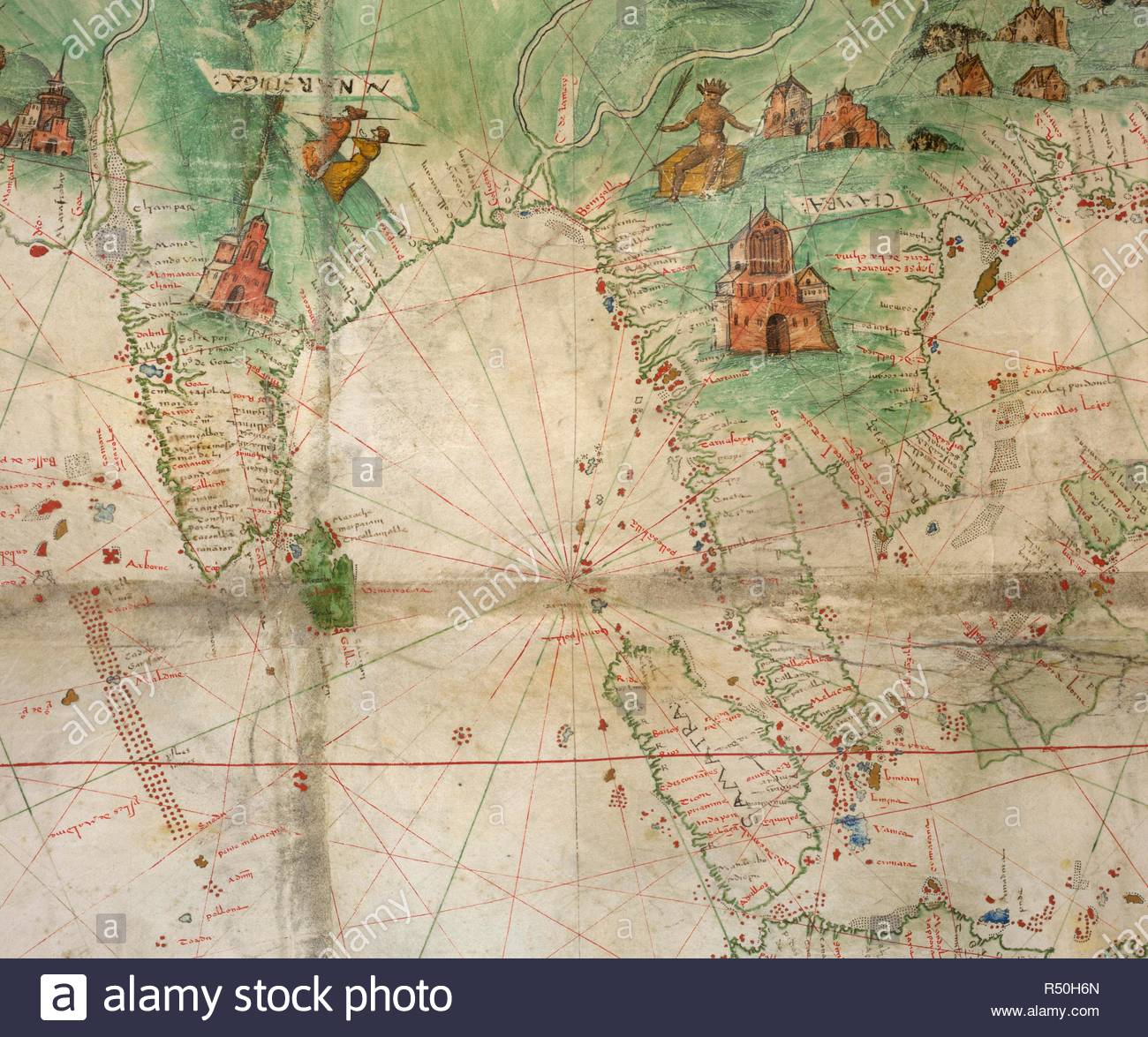 [Detail of map] India and the Bay of Bengal to the Malay Peninsula, Indonesia, and the South China Sea. Produced for the Dauphin [Henri II]. Dauphin Map [Harley World Map]. France; 1547. prester john,king, . Source: Add. 5413,. Language: French. Author: Dieppe School. - Stock Image