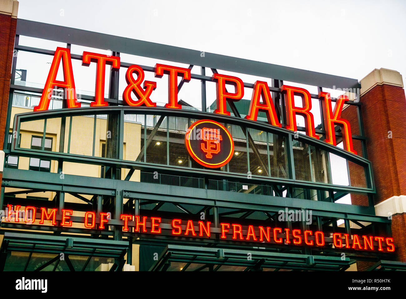 August 21, 2018 San Francisco / CA / USA - Close up of the logo of the AT&T Park, home of the San Francisco Giants above one of the arena entrance gat - Stock Image