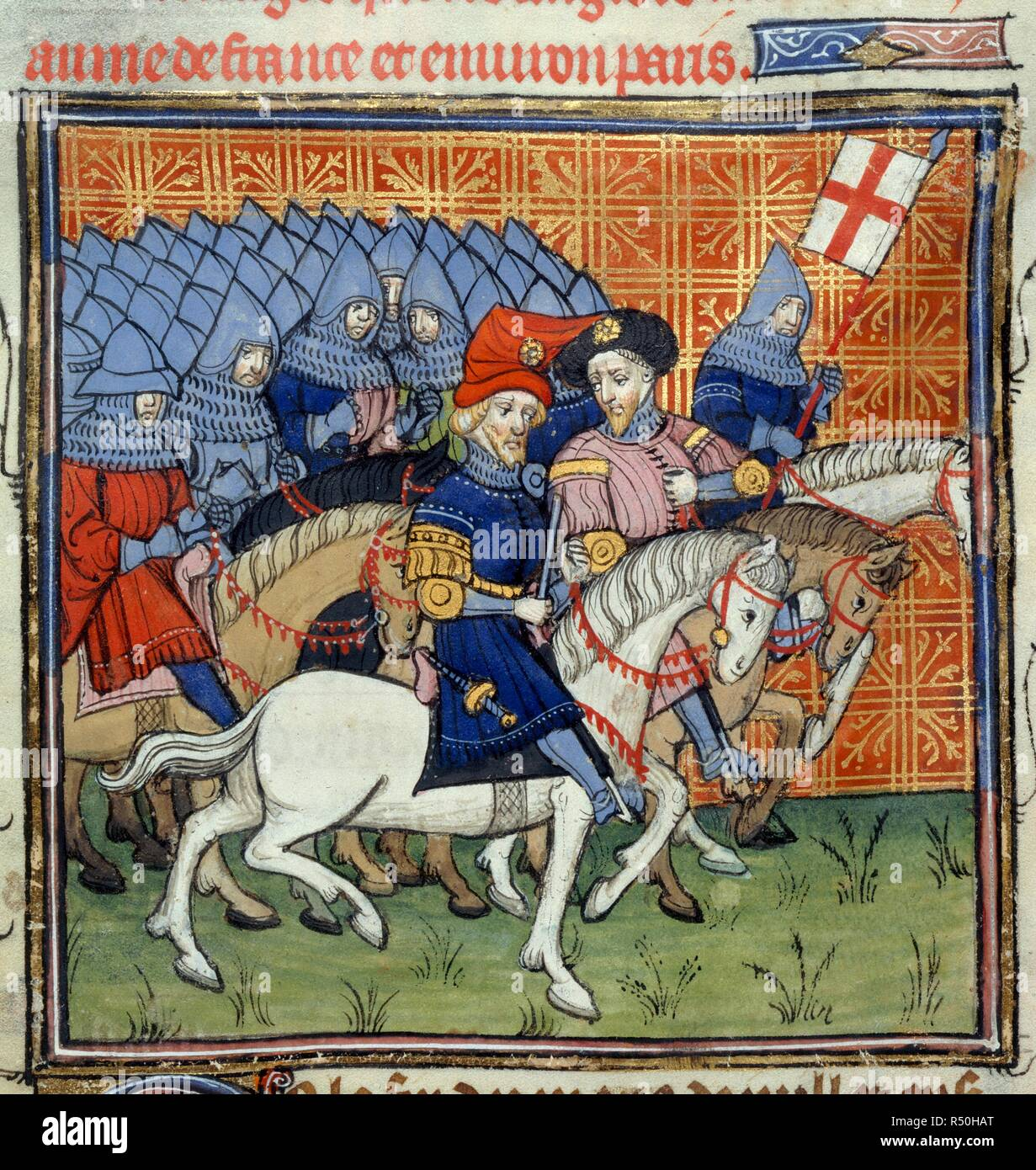 The English army marching under the banner of St. George in the Hundred Years' War. Chroniques de France ou de St. Denis. End of 14th century. Source: Royal 20 C. VII, f.186. Language: French. - Stock Image