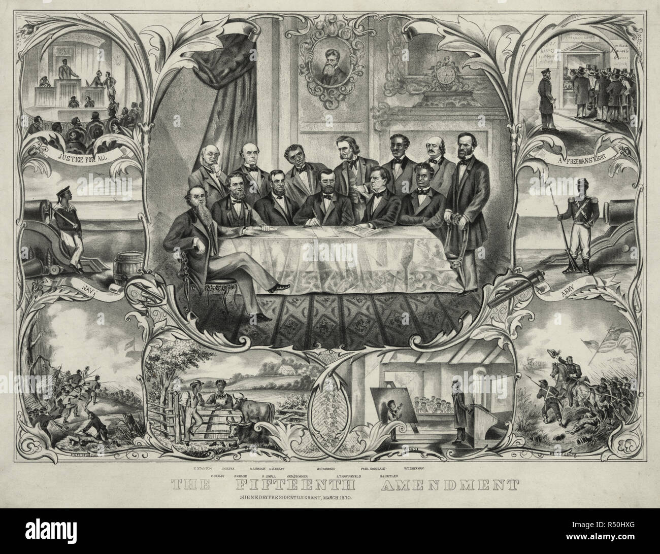 The fifteenth amendment  - 	Print showing President Grant sitting at the center of a large table, with several men clustered around, signing the 15th amendment granting that the right to vote cannot be denied on basis of race or color. From left, sitting and standing, are 'E. Stanton, H. Greley [i.e., Greeley], S. Colfax, A. Lincoln, R. Small[s], U.S. Grant, Chs. Sumner, W.F. Seward, Lt. Gov. Revels, Fred. Douglass, B.J. [i.e., F.] Butler, [and] W.T. Sherman.' Vignettes along sides and bottom show African Americans in military service, at school, on the farm, and voting. A head-and-shoulders p - Stock Image