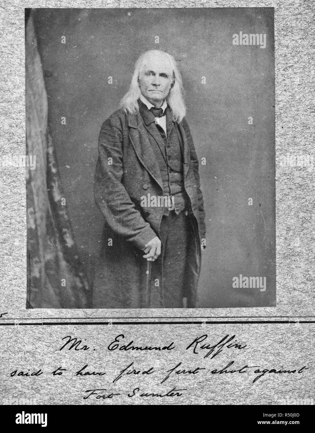 Edmund Ruffin. Fired the 1st shot in the Civil War. Killed himself at close of War, circa 1863 - Stock Image