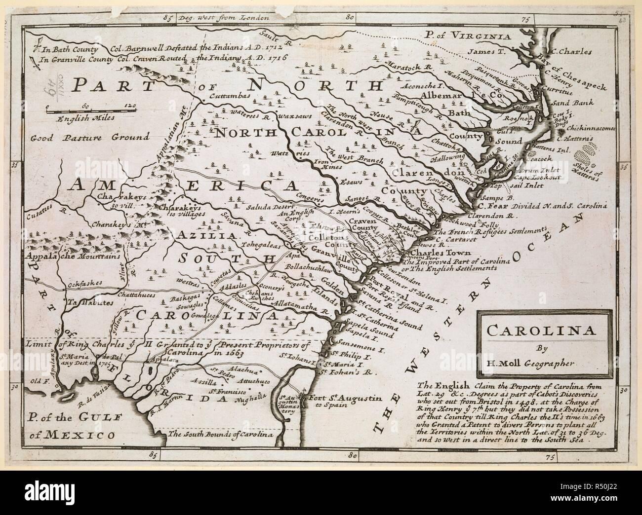 Map Of North London.A Map Of North And South Carolina Carolina London By H Moll
