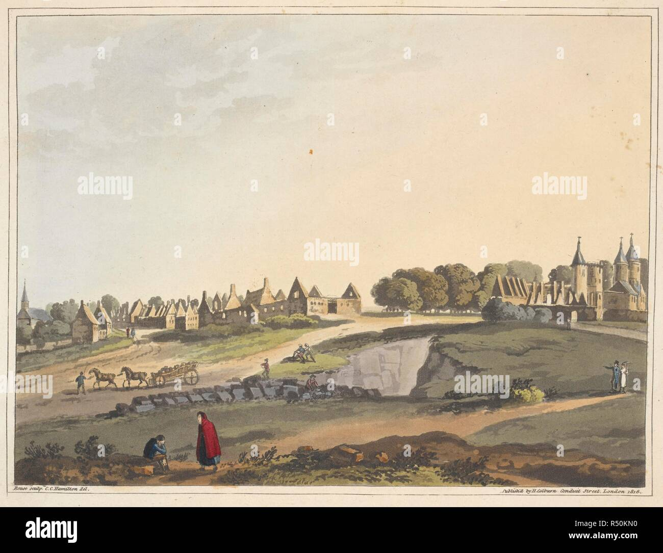 The ruins of the village of Ligny. An Historical Account of the Campaign in the Netherlands, in 1815, under His Grace the Duke of Wellington, and Marshal Prince Blucher, comprising the battles of Ligny, Quatrebras, and Waterloo; with a detailed narrative of the political events connected with those memorable conflicts down to the surrender of Paris, and the departure of Bonaparte for St. Helena ... Embellished with ... plates ... from drawings ... by James Rouse. London : Henry Colburn, 1817. Source: 193.e.9 plate XXIV - W. Author: JAMES ROUSE. Mudford, William. - Stock Image