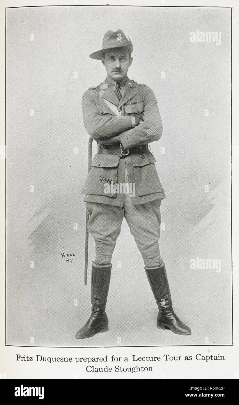 """Fritz Duquesne under the alias: Captain Claude Stoughton of the Western Australian Light Horse regiment. Frederick """"Fritz"""" Joubert Duquesne (21 September 1877 – 24 May 1956), sometimes Du Quesne, was a South African Boer soldier, prisoner of war, big game hunter, journalist, war correspondent, stockbroker, saboteur, spy, and adventurer whose hatred for the British (due to their treatment of Boer women and children) caused him to volunteer to spy for Germany during both World Wars. As a Boer spy he was known as the 'Black Panther', but he is also known as 'the man who killed Kitchener', s - Stock Image"""