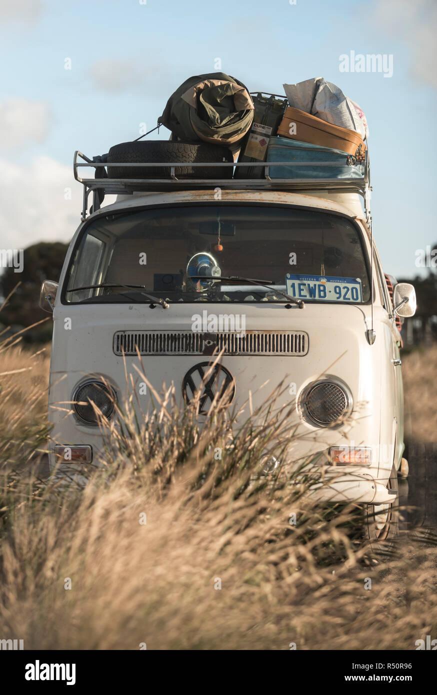 Traveling in an vintage van, Volkswagen Stock Photo