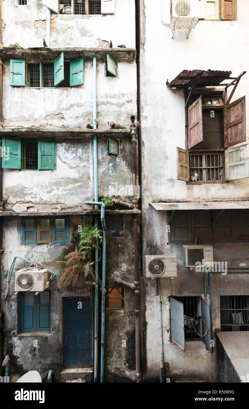 Yangon buildings, poor and dirty, Myanmar - Stock Image
