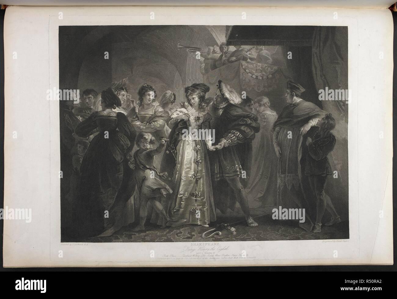 Print circa 90 years Etching Henry VIII Dismissal of Wolsey 1 x