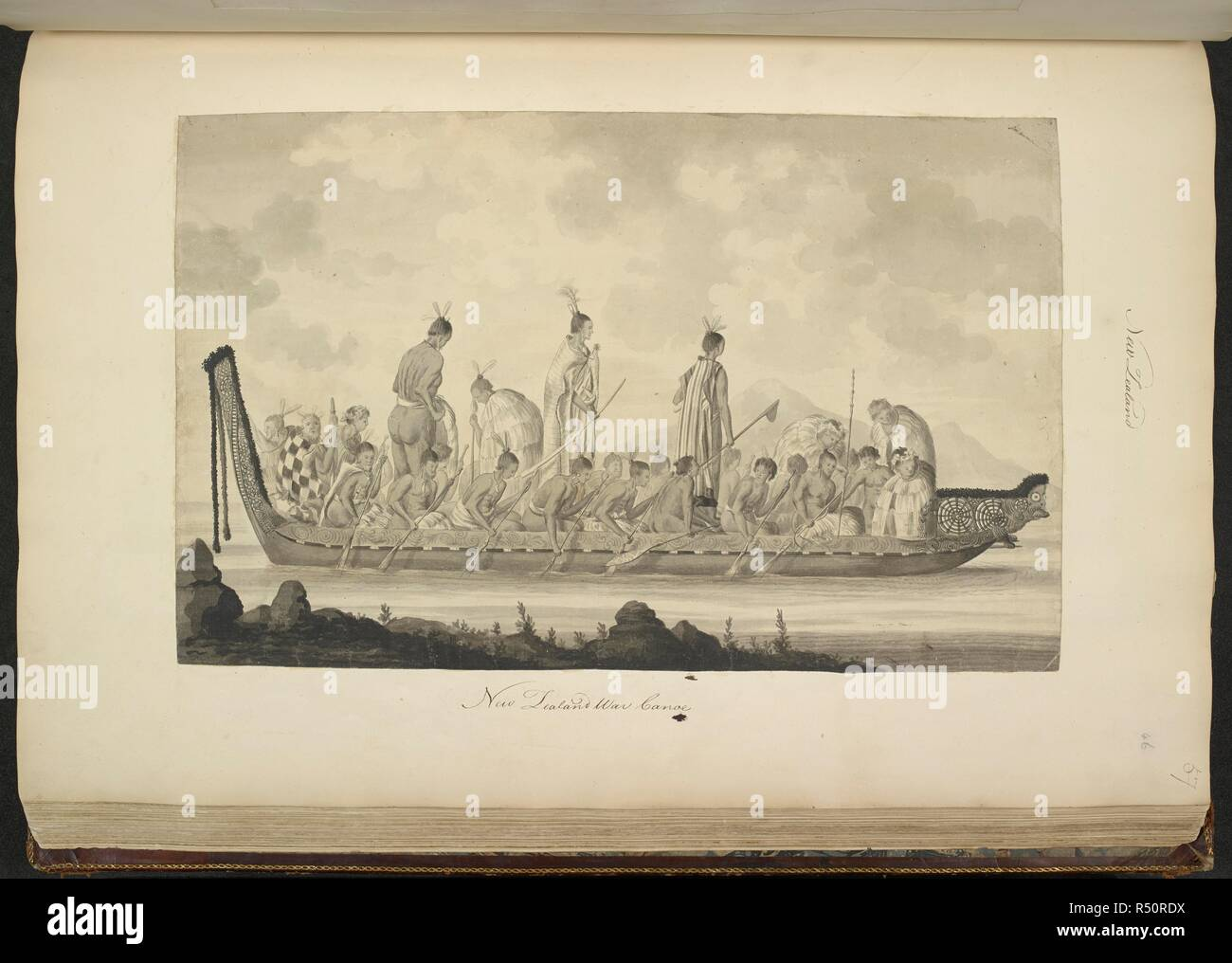 (Whole drawing) A New Zealand war canoe, with elaborate carving. Circa April 1770. A Collection of Drawings made in the Countries visited by Captain Cook in his First Voyage, 1768-1771. 1770.    . Source: Add. 23920, f.46. Language: English. Author: PARKINSON, SYDNEY. - Stock Image