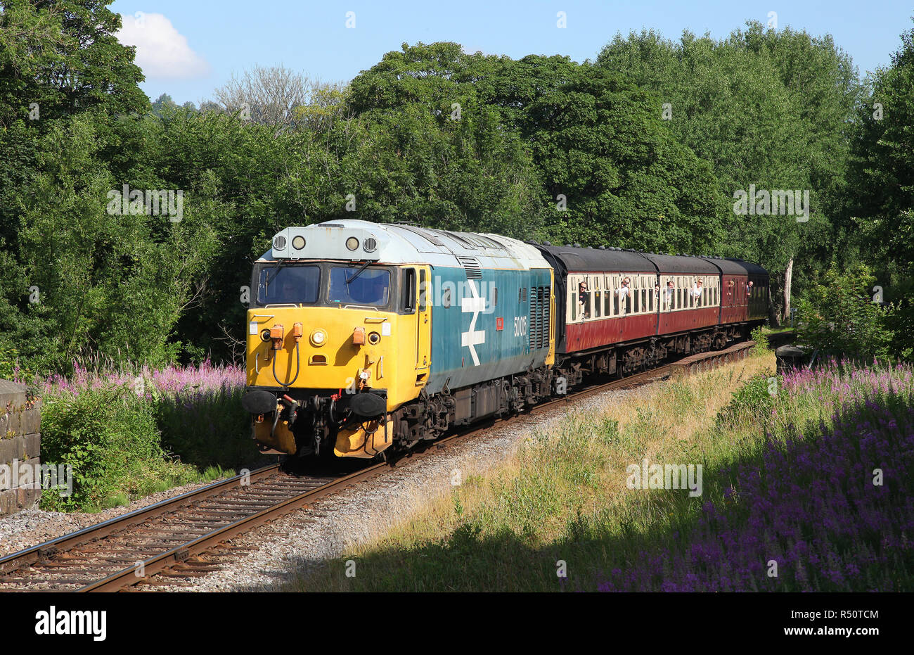 50015 heads away from Ramsbottom on 7.7.18 on the ELR. Stock Photo