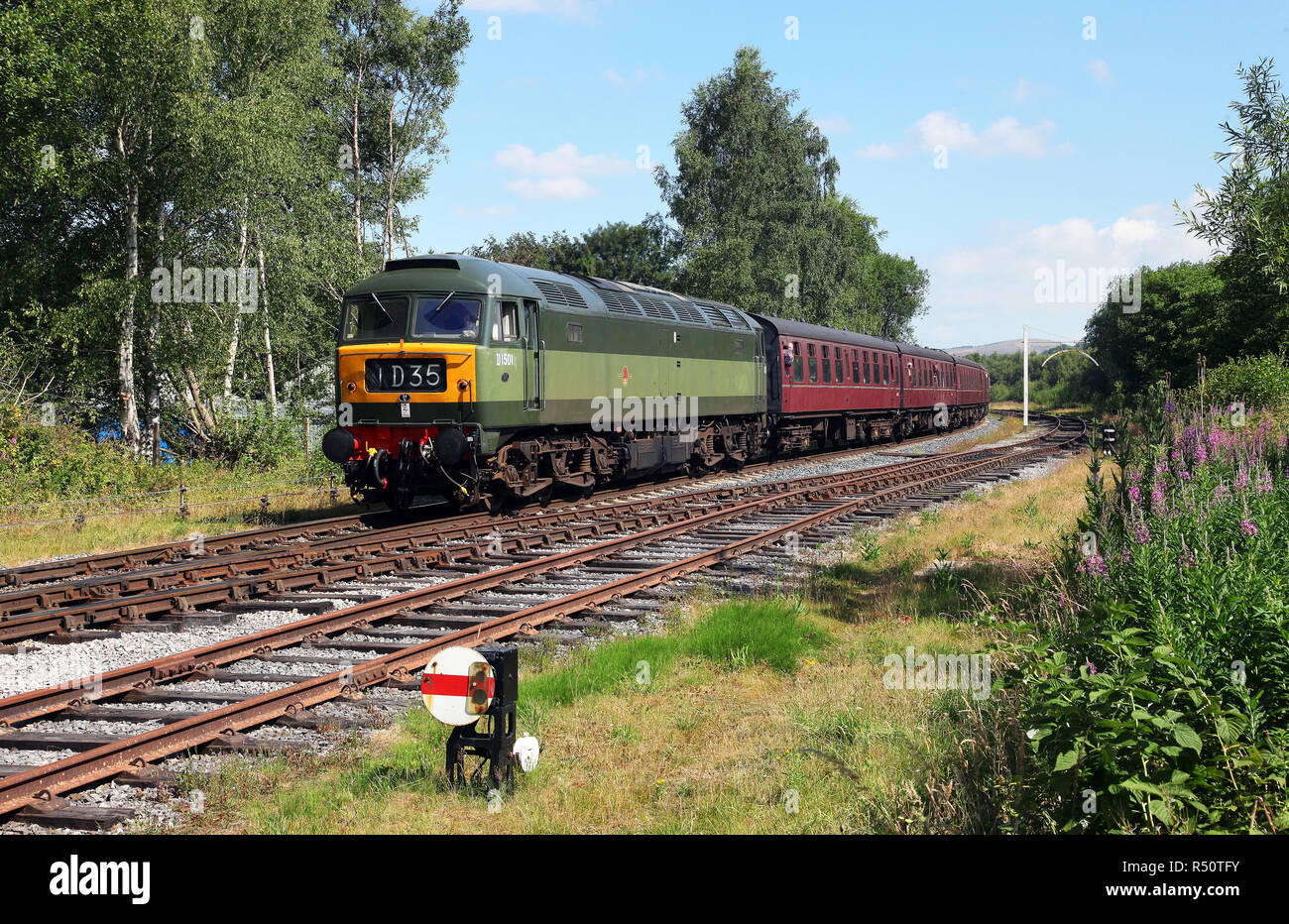D1501 approaches Ramsbottom on the East Lancs Railway on 7.7.18. Class 47. - Stock Image
