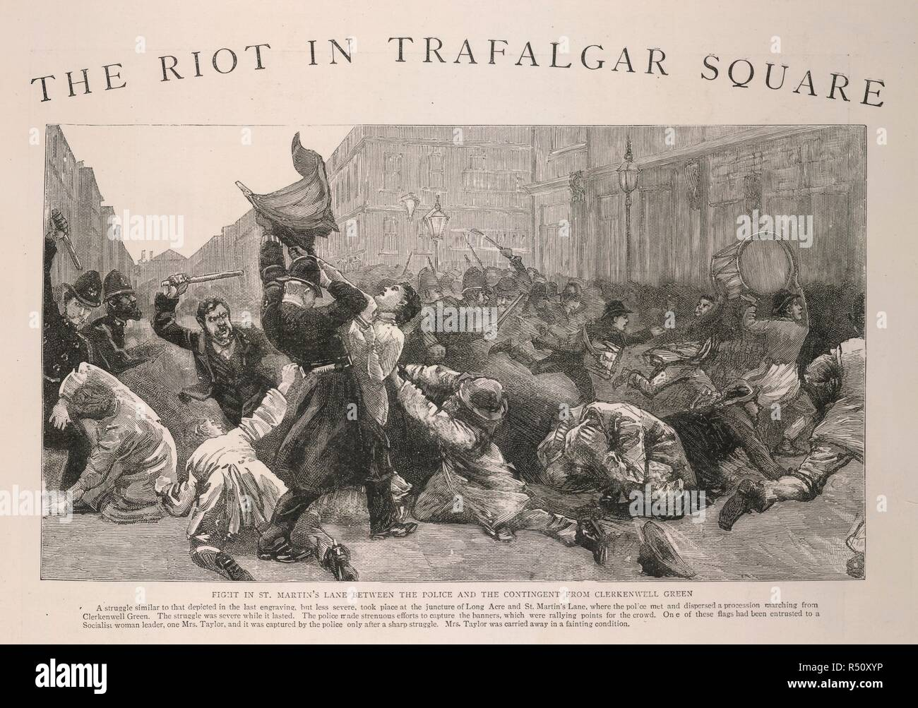 The Riot in Trafalgar Square. The Social Democratic Federation (SDF) organised a meeting for 13th February, 1887 in Trafalgar Square to protest against the policies of the Conservative Government. . The Graphic 19 November 1887. England. newspaper illustration, engraving of events of 1887, with police in conflict with protesters. Source: Graphic 19/11/1887 p573 (det). Language: English. - Stock Image