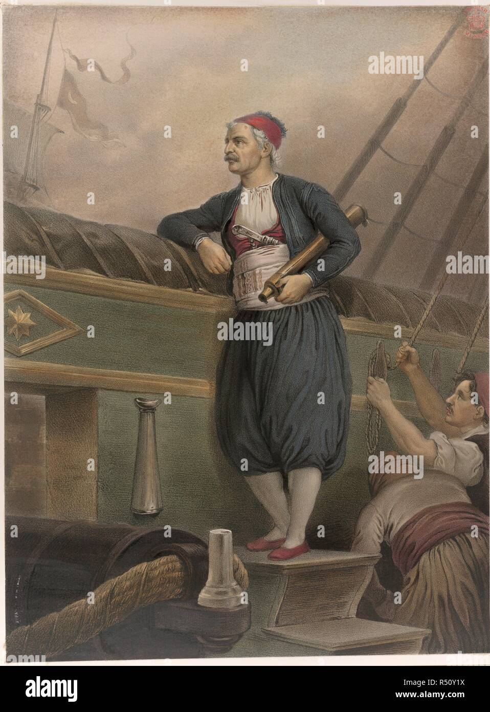 A Greek sailor on board a ship. Album of Greek Heroism, or the Deliverance of Greece Painted by P H-Befreiung Griechenlands in XXXIX Bildern entworfen von P H. München, [1852-54.]. Source: N.TAB. 2017/17. Stock Photo