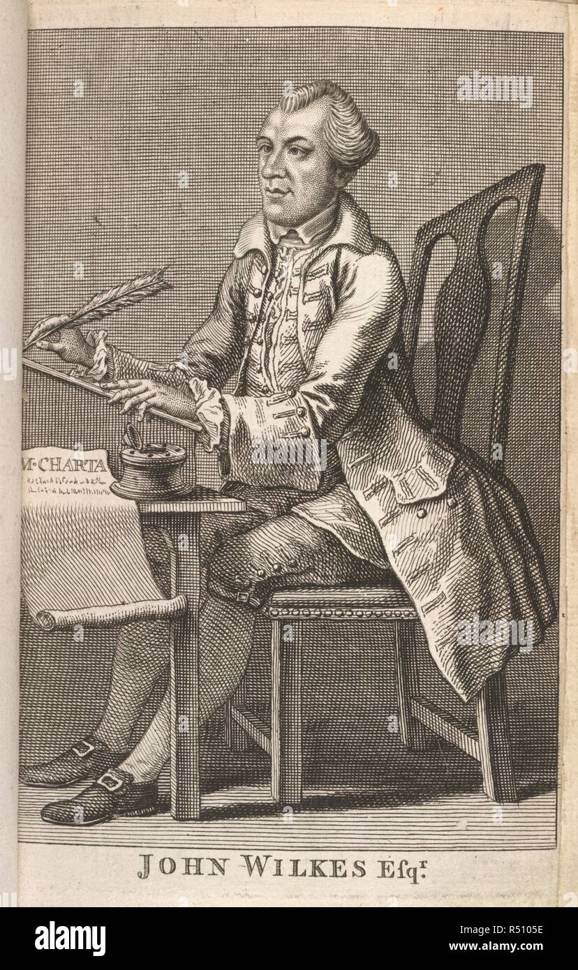 John Wilkes. The Iliad. Homeri Ilias, id est, de rebus ad Troja. Joan. Hayes: Cantabrigiæ, 1686. John Wilkes (1727-1797). English politician. Portrait. A member of the Hell-fire club which indulged in orgies at Medmenham Abbey. He became a symbol of free speech with the epitaph, 'a friend of liberty'.  Image taken from The Iliad. Homeri Ilias, id est, de rebus ad Trojam gestis. Editio postrema. [With the autograph and portrait of John Wilkes, (in appendix).]..  Originally published/produced in Joan. Hayes: Cantabrigiæ, 1686. . Source: 11335.aa.28, frontispiece. Language: English. Stock Photo