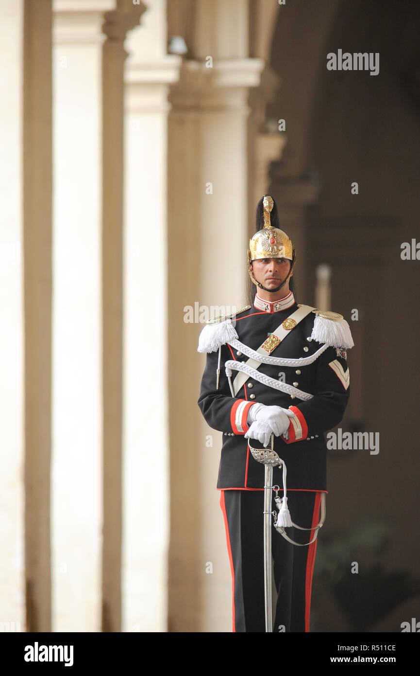 Member of Reggimento Corazzieri (Cuirassiers' Regiment) part of Arma dei Carabinieri (Carabinieri Force) Guard of Honor of the President of the Italia Stock Photo