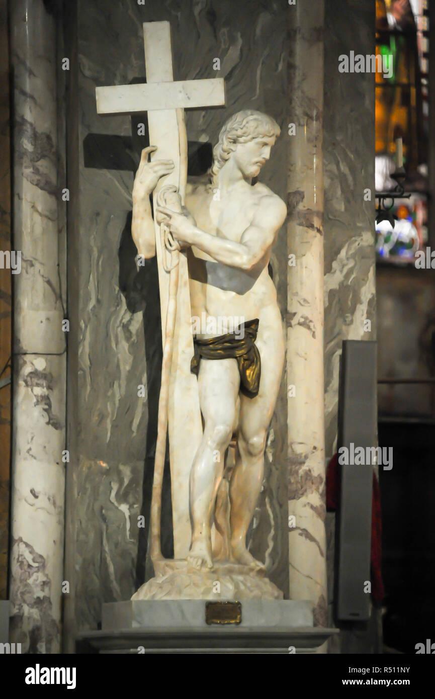 Renaissance statue of Cristo della Minerva (Risen Christ) by Michelangelo in Gothic Basilica di Santa Maria sopra Minerva (Basilica of Saint Mary abov Stock Photo