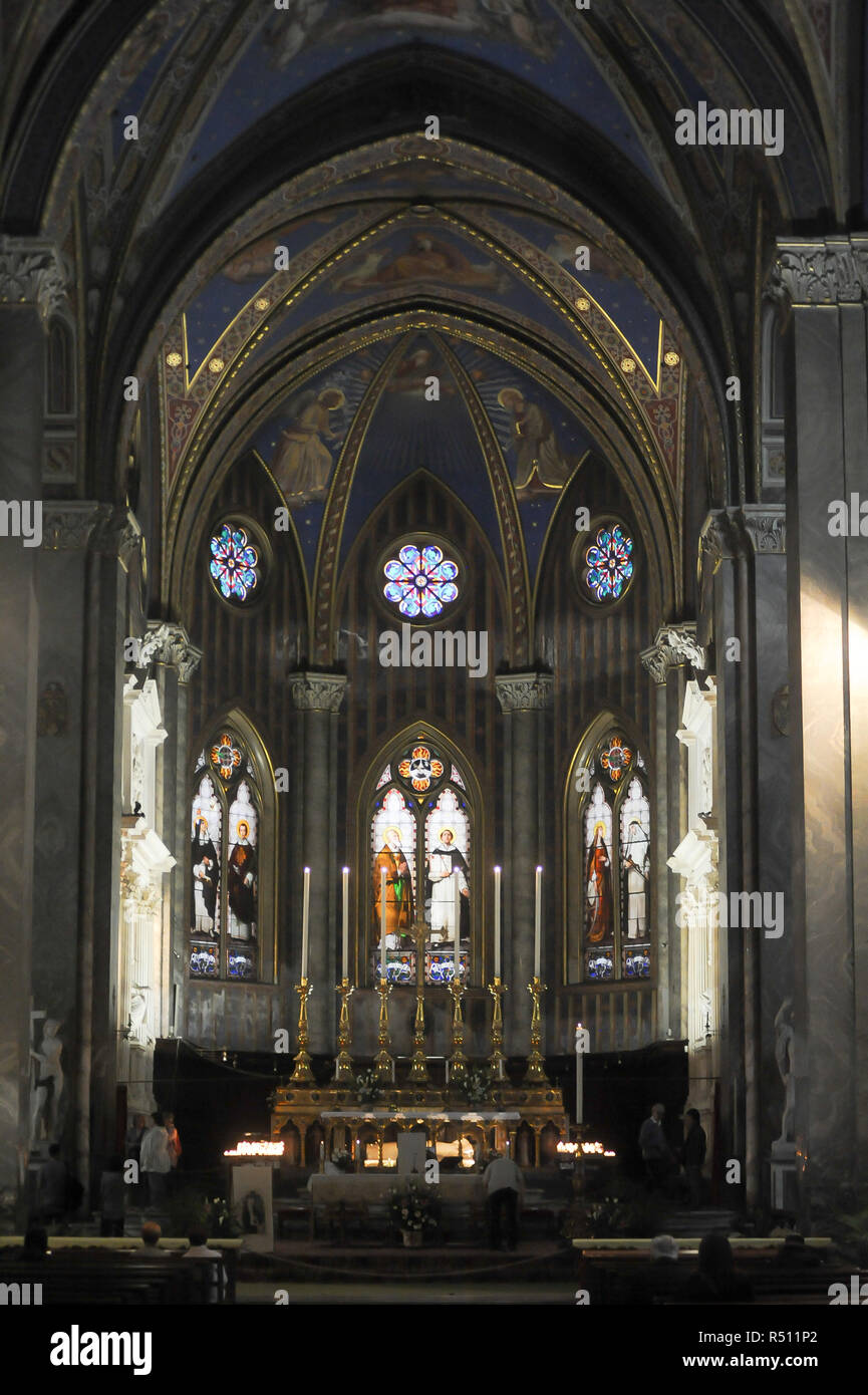 Sarcophagus of Saint Catherine of Siena beneath the High Altar in Gothic Basilica di Santa Maria sopra Minerva (Basilica of Saint Mary above Minerva)  Stock Photo