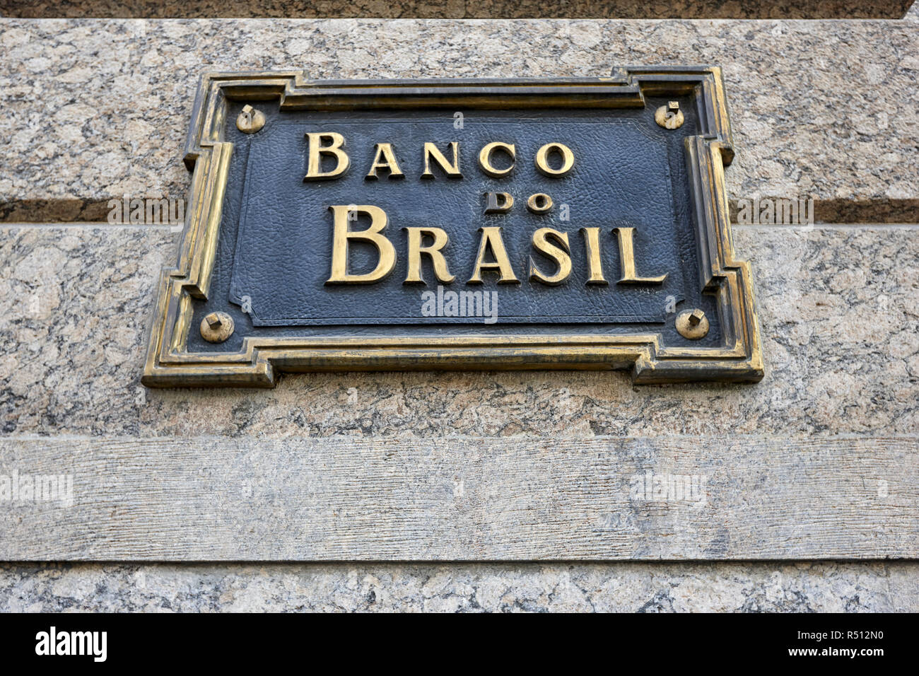 Banco do Brasil bank sign Stock Photo