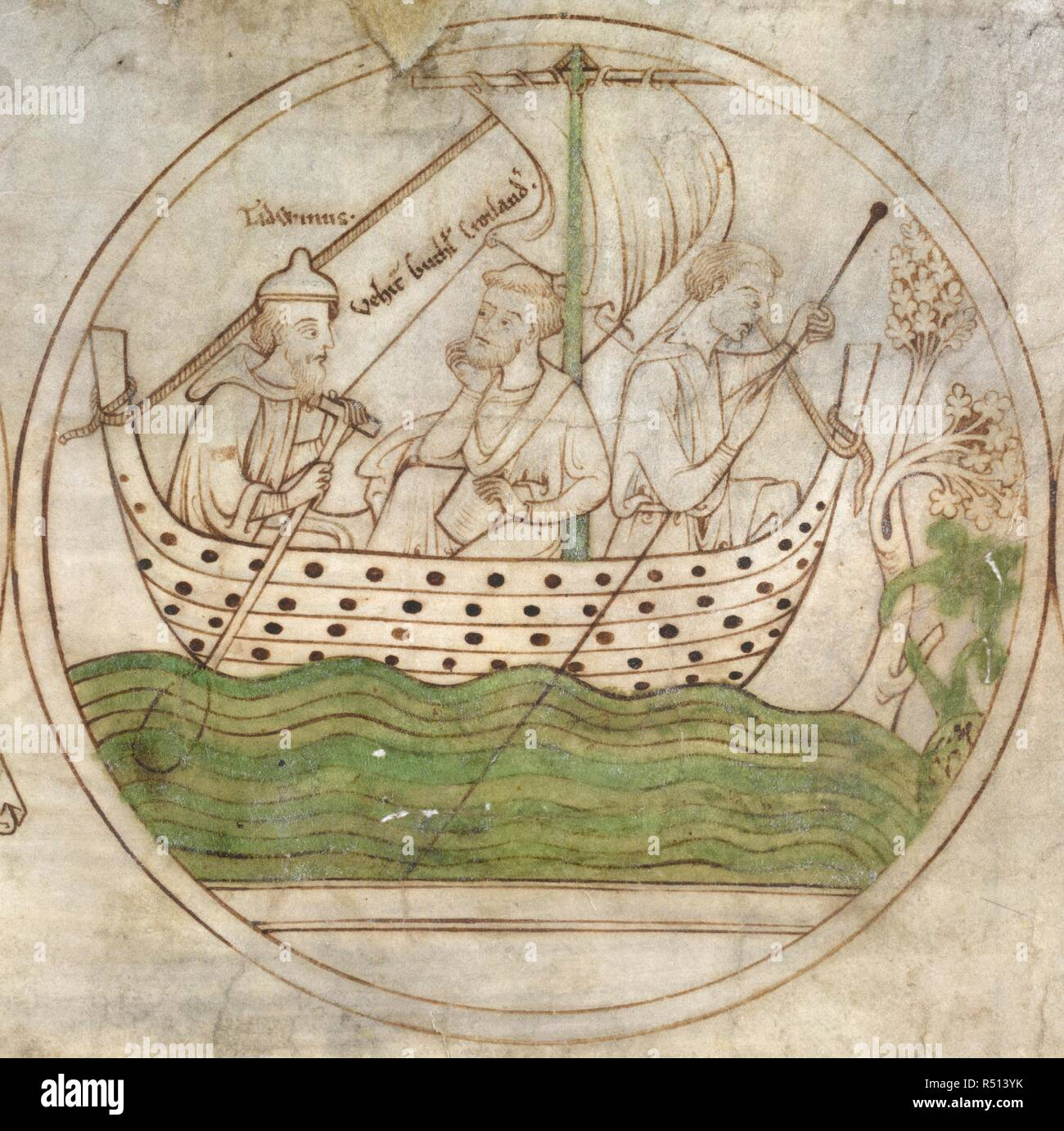 Tatwin conveys Guthlac by boat to Crowland. Guthlac Roll. East Anglia, circa 1210. Source: Harley Roll Y. 6, roundel 4. Language: Latin. - Stock Image