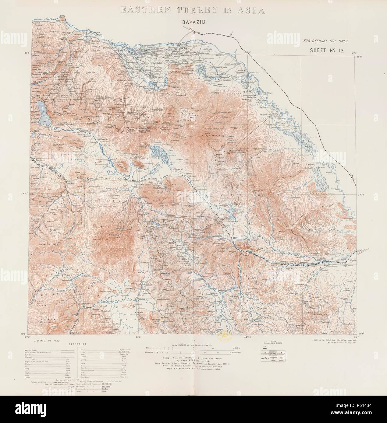 Eastern Turkey. Eastern Turkey in Asia. Scale, 1 : 250,000, or 1.0. Map of Eastern Turkey.  Image taken from Eastern Turkey in Asia. Scale, 1 : 250,000, or 1.014 inches to 4 miles. Compiled at the Intelligence Division, War Office, by Major F.R. Maunsell, etc. . Source: Maps.152.d.2, sheet 13. - Stock Image