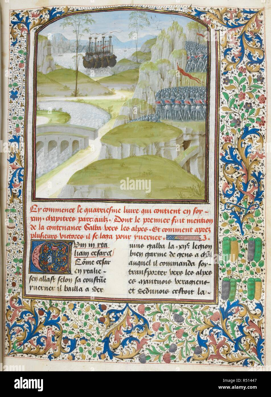 Galba's army crossing Alps (Book 4). Caesar, translated by Jan Du Quesne (or Jean Duchesne), Bellum Gallicum ( Les commentaires de Cesar ). 1473-1476. Source: Royal 16 G. VIII f.133. Language: French. Author: JULIUS CAESAR. Du Quesne, Jehan. - Stock Image