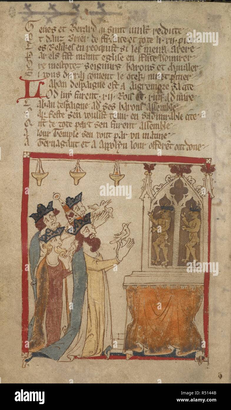 Laban and three kings offer birds to Termagant and Apollyon. ROMANCES in French verse ... 14th century. Source: Egerton 3028 f.64v. Author: Wace, Canon of Bayeux. - Stock Image