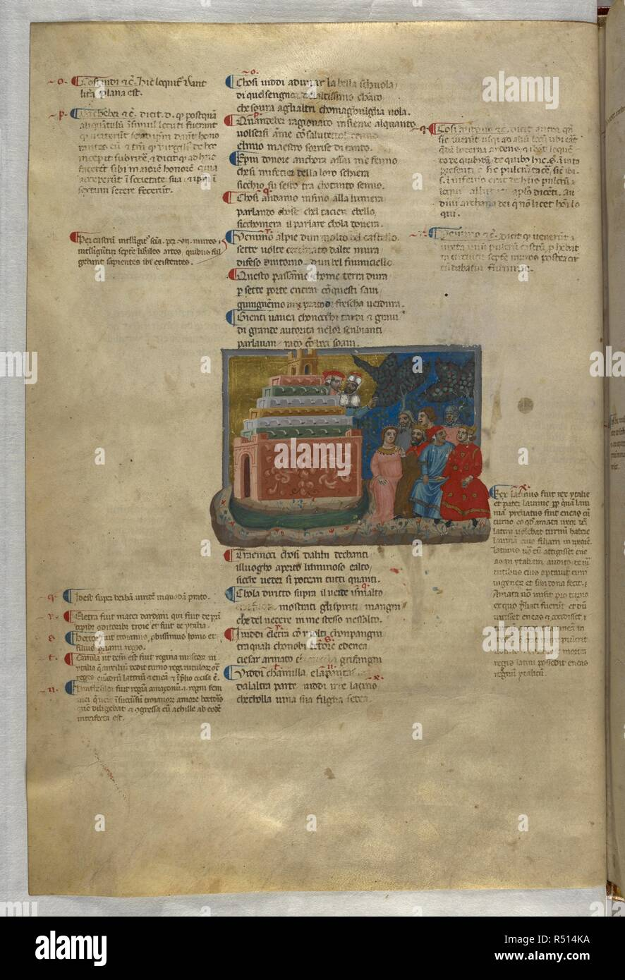 Inferno: The noble castle, with virtuous pagans nearby. Dante Alighieri, Divina Commedia ( The Divine Comedy ), with a commentary in Latin. 1st half of the 14th century. Source: Egerton 943, f.9v. Language: Italian, Latin. - Stock Image
