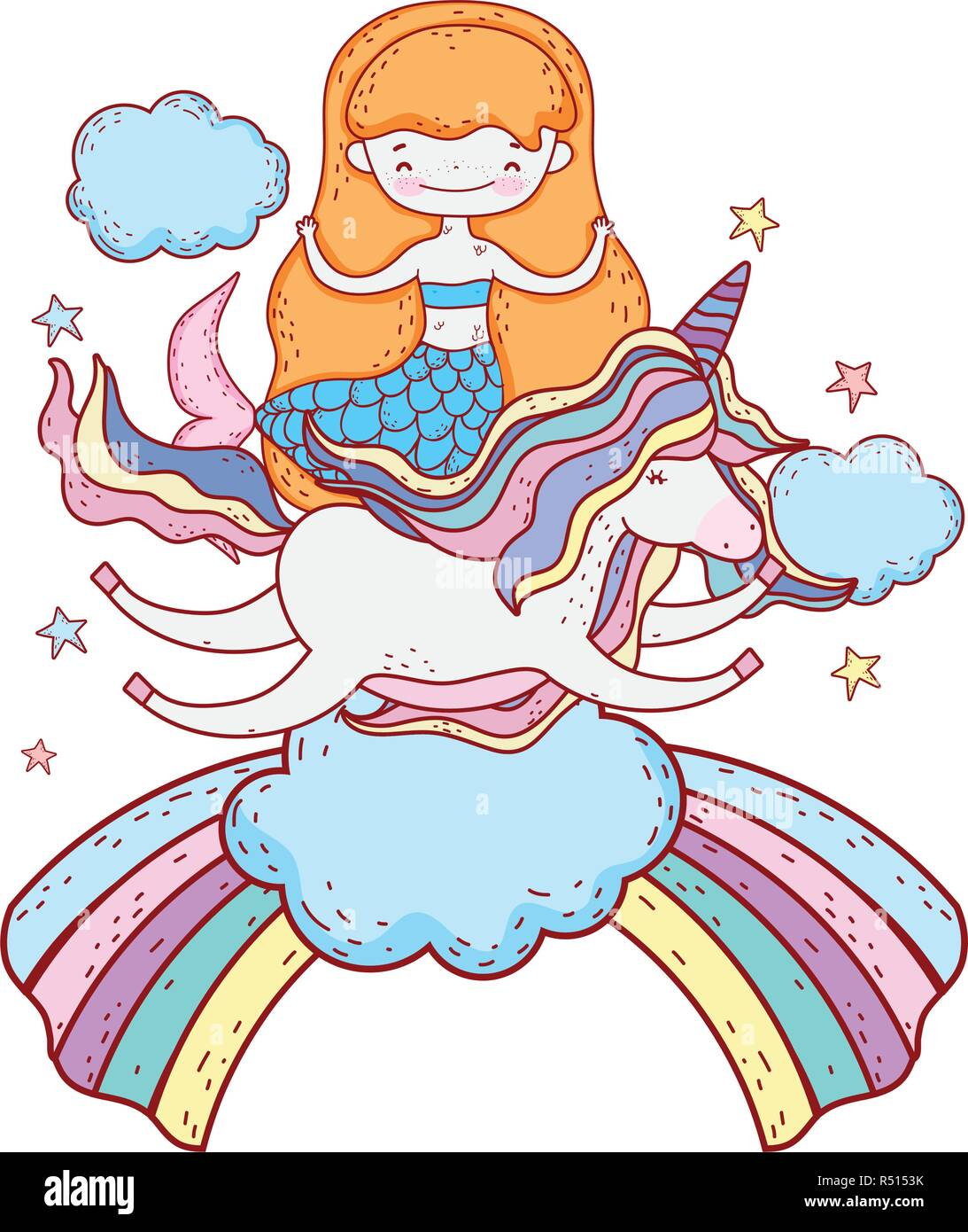 mermaid with unicorn and rainbow in clouds - Stock Image