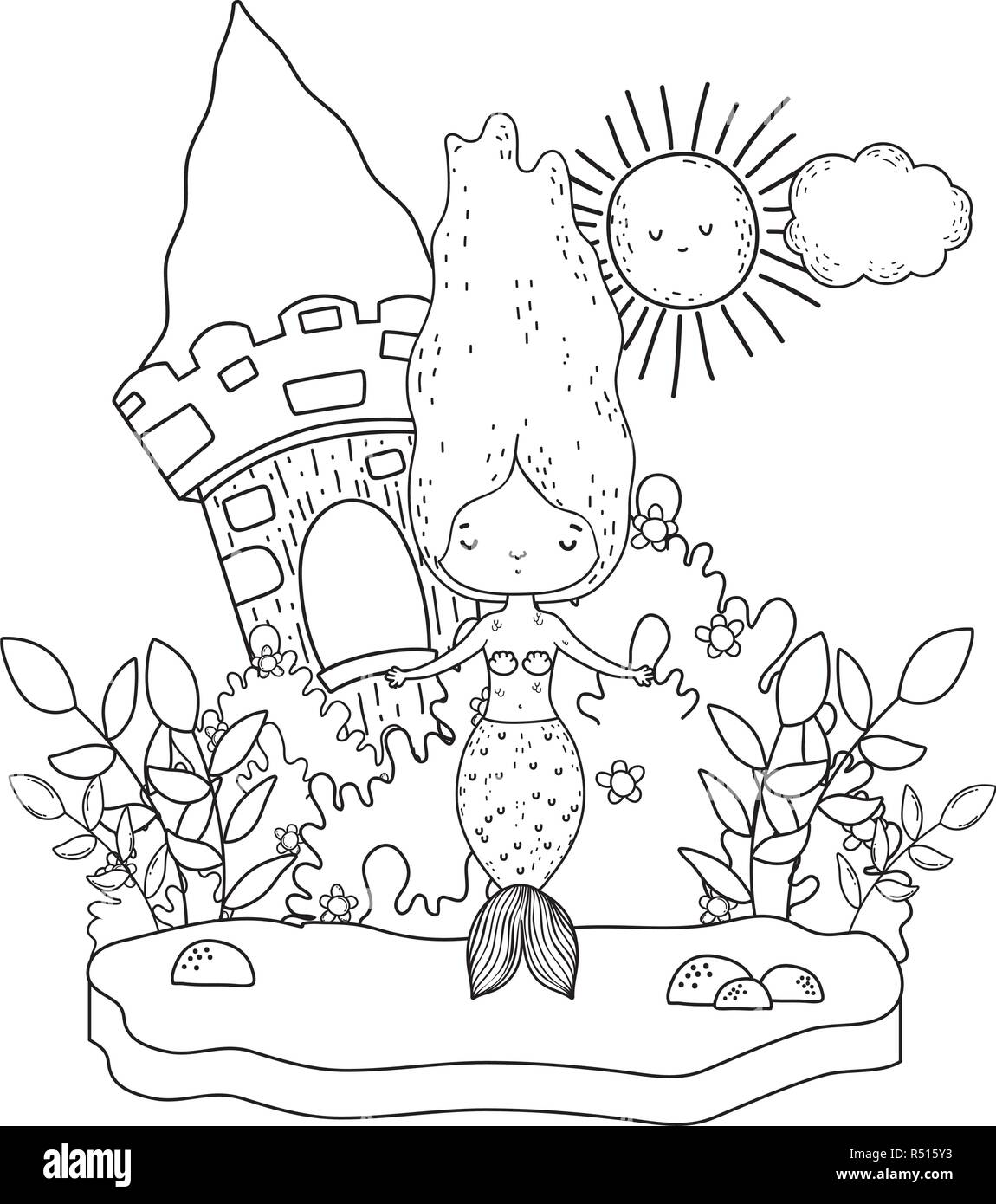cute mermaid with castle in the landscape - Stock Vector
