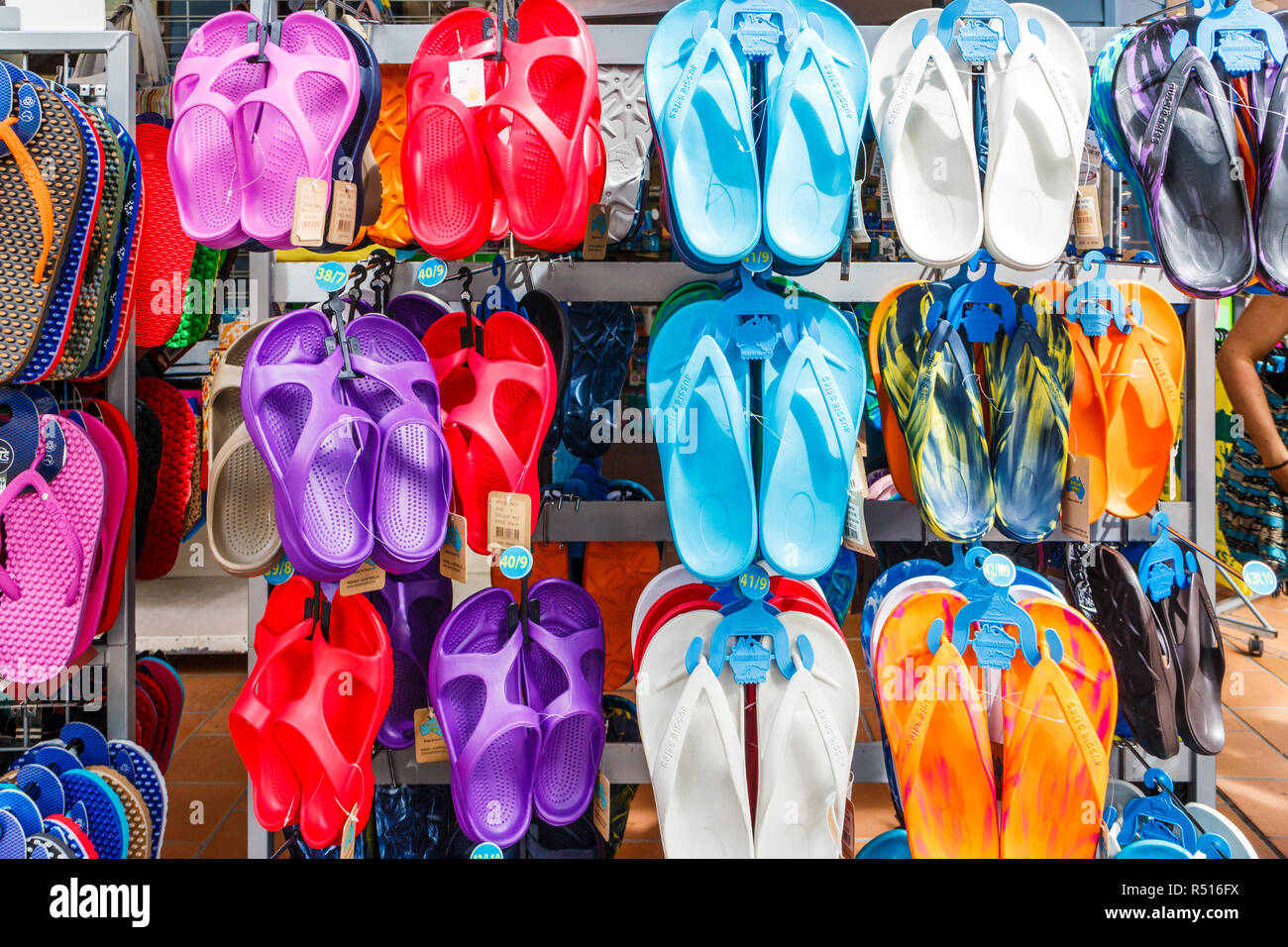 7a2d8d607026 Flip flops hung up for sale outside shop · kevin hellon   Alamy Stock Photo