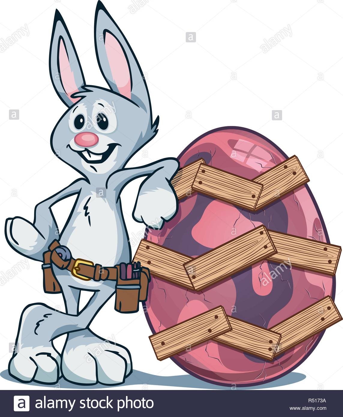 Easter Bunny leaning against cracked Easter egg that he repaired using wooden boards and nails. - Stock Image