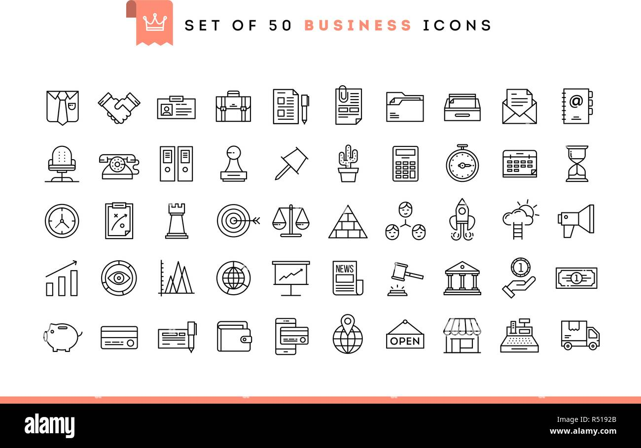 Set of 50 business icons, thin line style Stock Vector