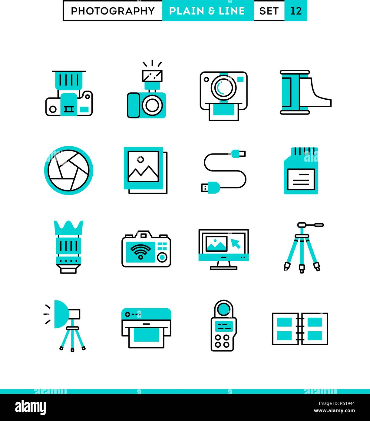 Photography, equipment, post-production, printing and more. Plain and line icons set, flat design, vector illustration Stock Vector