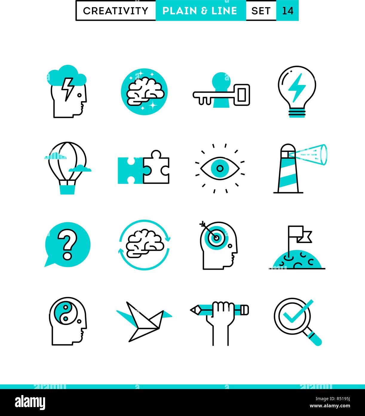 Creativity, imagination, problem solving, mind power and more. Plain and line icons set, flat design - Stock Vector